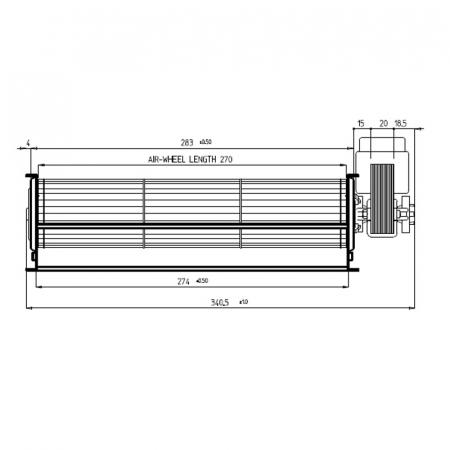 Ventilator tangențial pentru semineu cu peleți TGA 60 / 1-270 / 20 EMMEVI - FERGAS 1134131