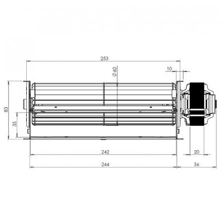 Ventilatorul tangențial pentru semineu cu peleți TRIAL THS24B6-026 - TFA661-D6 [2]