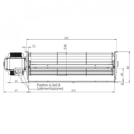 Ventilator tangențial pentru semineu cu peleți Fergas 1168202