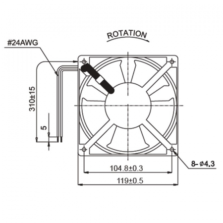 Ventilator de racire axial  120x120x38 mm  A12B23HTBMT1