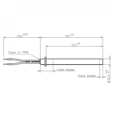 Rezistenta liniara cu flanșă, 160mm, 12,5mm, 350 wații ( HT62705 )1