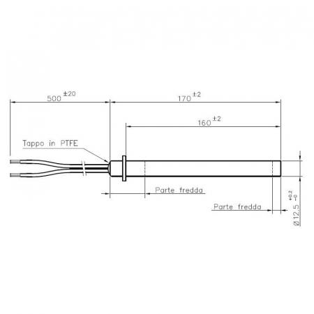 Rezistență liniara cu flanșa, 170mm, 12,5mm, 350 watii ( 832001030 )1