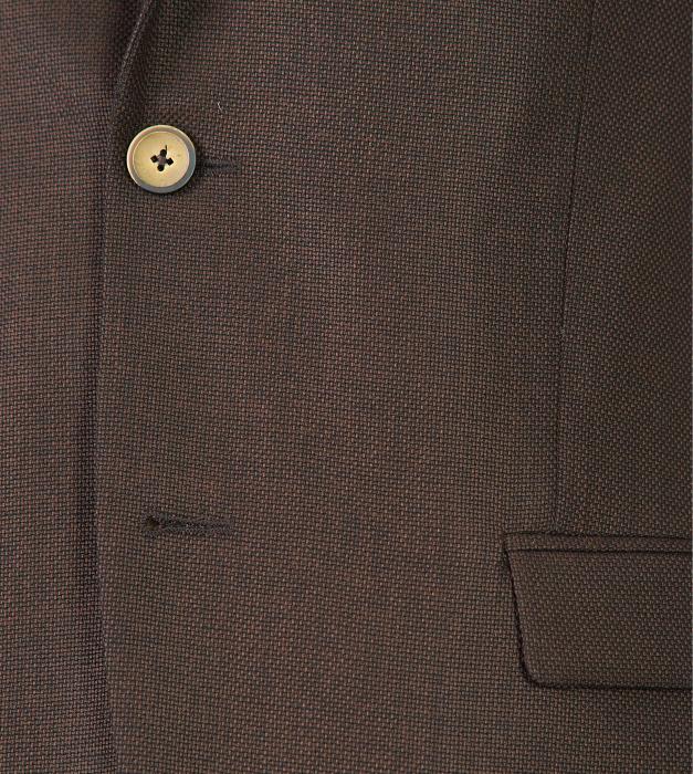 Costum barbati slim cu sacou maro uni si pantaloni bleumarin [1]