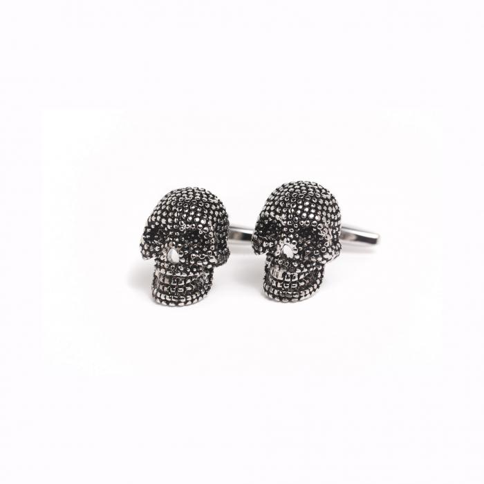 Butoni camasa argintii craniu [0]