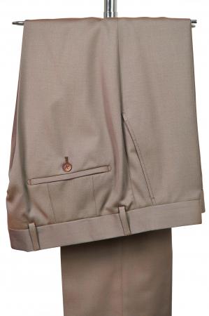 Pantaloni slim din lana 100% bej [0]