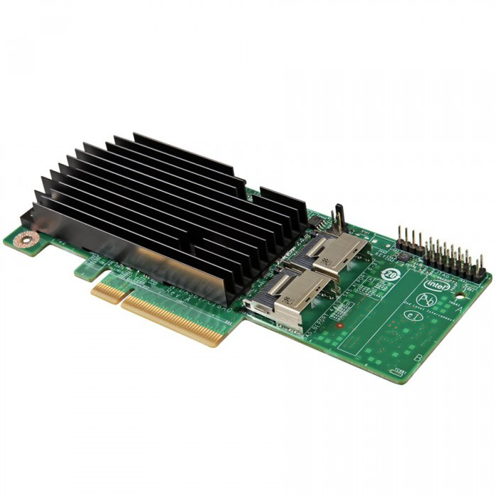 Intel RAID Controller RMS25PB080 (LSI2208 ROC, PCIe 2.0 X8 Slot, 8Port Internal SAS/SATA, 1GB DDR3, RAID 0,1,10,5,50,6,60, support for RSBBU9 or RMFBU2, no cables), Single [0]