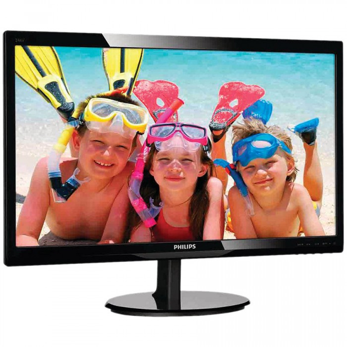 "Monitor LED PHILIPS 246V5LHAB/00 (24"""", 1920x1080, LED Backlight, 1000:1, 10000000:1(DCR), 170/160, 5ms, HDMI/VGA/Audio) Black 1"