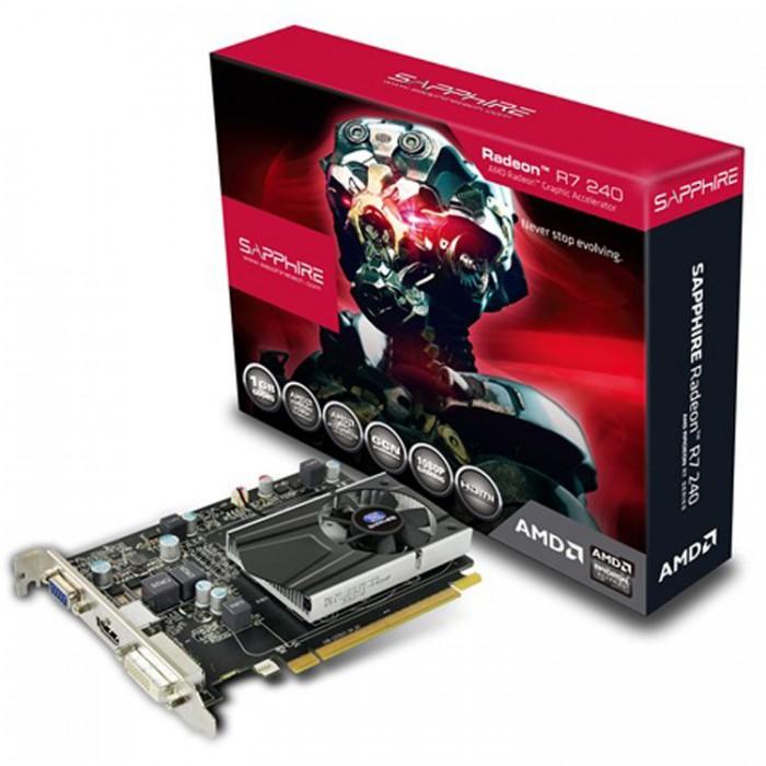 VC SAPPHIRE AMD Radeon R7 240 1G GDDR5 PCI-E HDMI / DVI-D / VGA WITH BOOST, 730MHz (780MHz) / 1150Hz, 128-bit, 1 slot active, , LITE 1