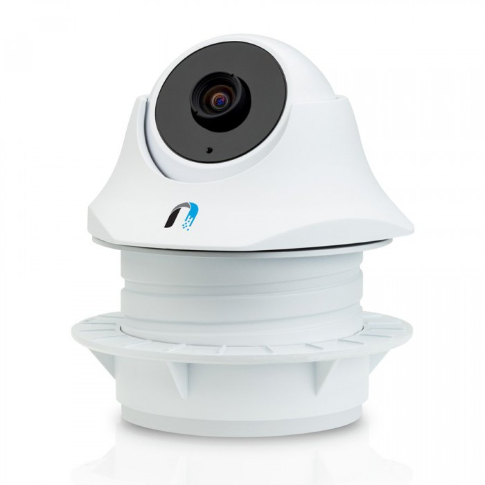 Ubiquiti Indoor Video Camera UniFi UVC-Dome, 1x10/100 RJ45, microSD Card Slot, Microphone, IR LED with Mechanical IR Cut Filter, Passive PoE, 24V 0.5A PoE Adapter, 720 HD, 30 FPS, 1.96 mm/F2.0 Lens, 1 0