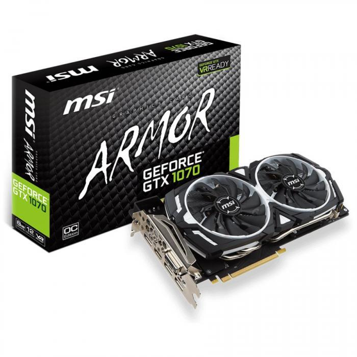 MSI Video Card GeForce GTX 1070 ARMOR 8G OC GDDR5X 8GB/256bit, PCI-E 3.0 x16,3DP, HDMI, DVI-D, Retail 0