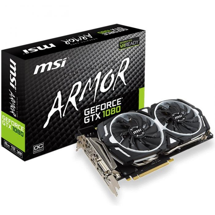 MSI Video Card GeForce GTX 1080 ARMOR 8G OC GDDR5X 8GB/256bit, PCI-E 3.0 x16,3DP, HDMI, DVI-D, Retail 0