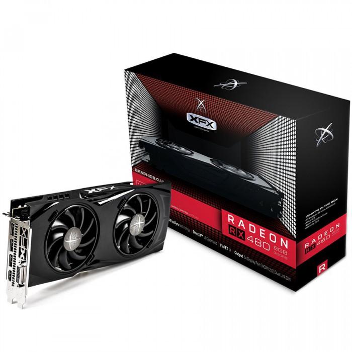 XFX Video Card AMD Radeon RX480 GDDR5 8GB/256bit, 1288MHz/8000MHz, PCI-E 3.0 x16, HDMI, DVI, 3xDP, DD 2X cooler LED(Double Slot), Backplate, 3+2 Warranty, Retail [0]
