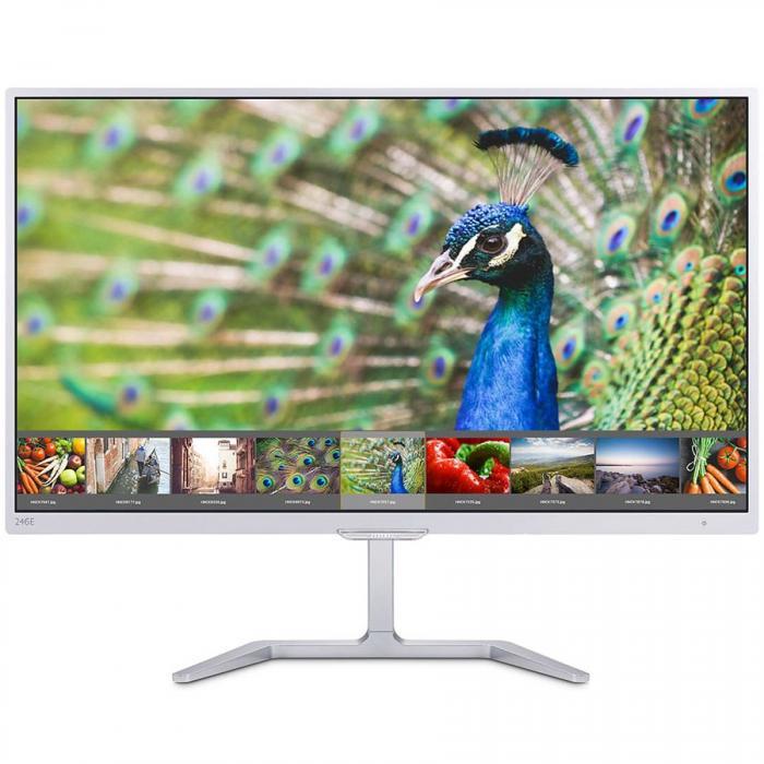 "PHILIPS Monitor LED E-Line 246E7QDAB/00 (23.6"", PLS, 16.9, 1920x1080, 5ms, 20M:1, 250 cd/m2, 178/178, VGA, DVI, HDMI, speakers, Narrow Bezel) White Glossy, 2y 0"