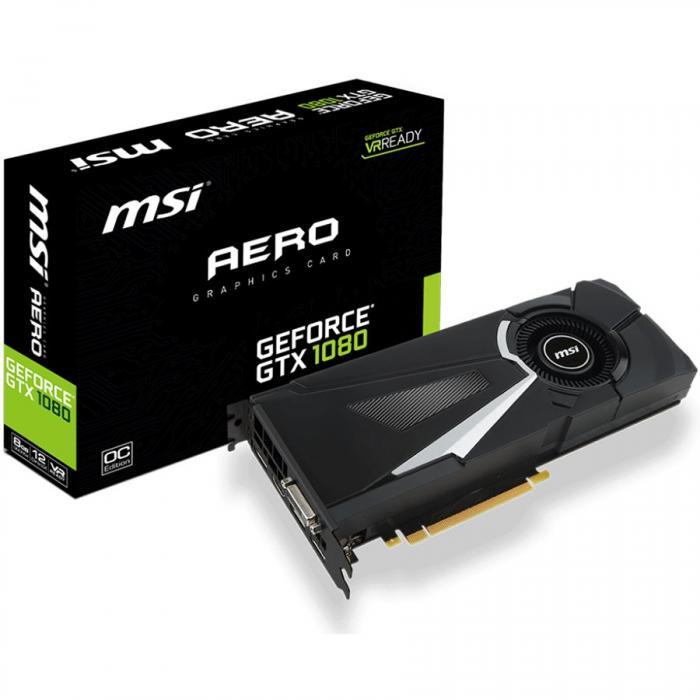 MSI Video Card GeForce GTX 1080 GDDR5X 8GB/256bit, 1771MHz/10010MHz, PCI-E 3.0 x16, 3xDP, HDMI, DVI-D, Retail 0