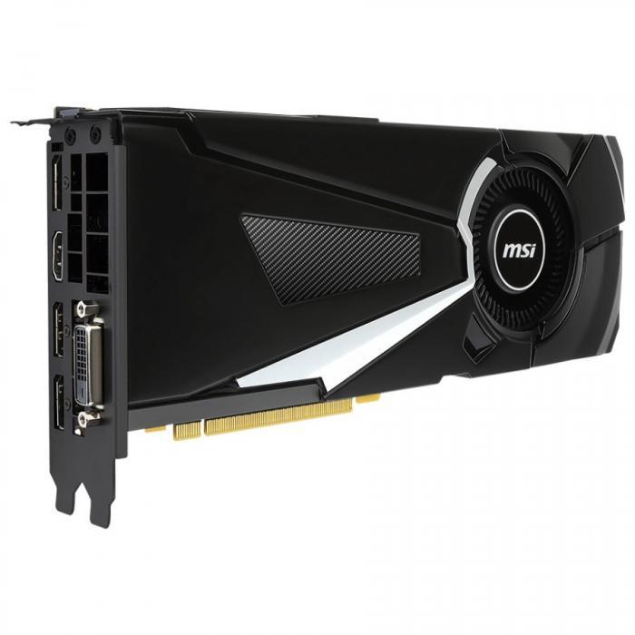 MSI Video Card GeForce GTX 1080 GDDR5X 8GB/256bit, 1771MHz/10010MHz, PCI-E 3.0 x16, 3xDP, HDMI, DVI-D, Retail 1