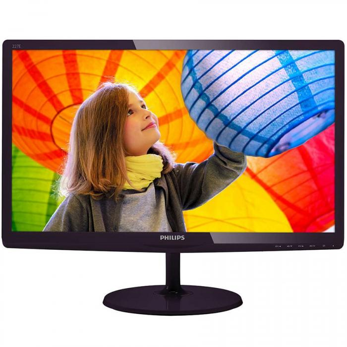 "Monitor LED PHILIPS E-Line 227E6LDSD/00 (21.5"", TN, 16.9, 1920x1080, 1ms, 20M:1, 250 cd/m2, 170/160, VGA, DVI, HDMI, Black 0"