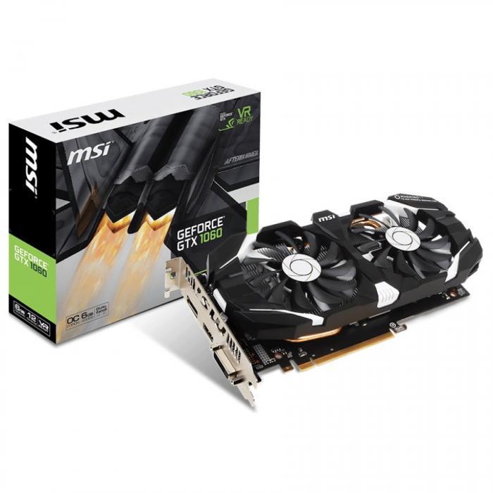 MSI Video Card GeForce GTX 1060 OC GDDR5 6GB/192bit, 1544MHz/8008MHz, PCI-E 3.0 x16, DP, HDMI, DVI-D, Sleeve 2X Fan Cooler (Double Slot), Retail 0