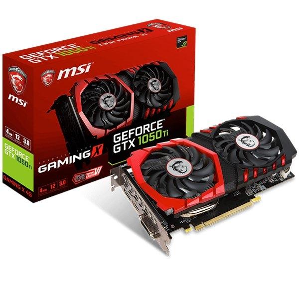 MSI Video Card GeForce GTX 1050 Ti GAMING X GDDR5 4GB/128bit, 1354MHz/7008MHz, PCI-E 3.0 x16, DP, HDMI, DVI-D, Twin Frozr VI Cooler LED(Double Slot), Retail 0