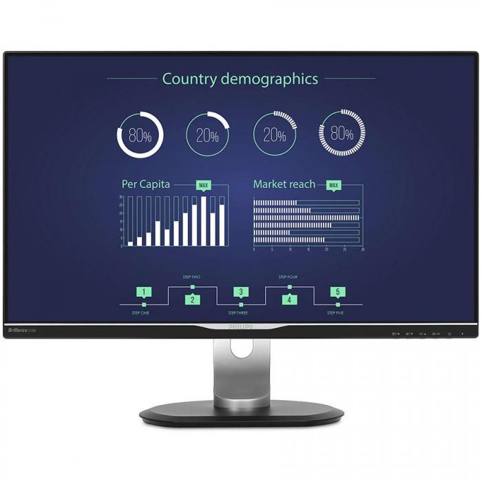 """Monitor 25"""" PHILIPS 258B6QUEB cu statie de andocare USB-C, IPS, WLED ,16:9, WQHD 2560*1440, 60hz, 5 ms, 350 cd/m2, 1000:1/ 20M:1, 178/178,HDMI, VGA, USB, DVI, DP, pivot, VESA, Speakers """"258B6QUEB/00"""" 0"""