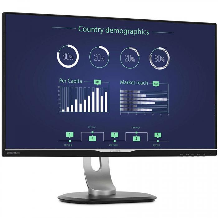 """Monitor 25"""" PHILIPS 258B6QUEB cu statie de andocare USB-C, IPS, WLED ,16:9, WQHD 2560*1440, 60hz, 5 ms, 350 cd/m2, 1000:1/ 20M:1, 178/178,HDMI, VGA, USB, DVI, DP, pivot, VESA, Speakers """"258B6QUEB/00"""" 1"""