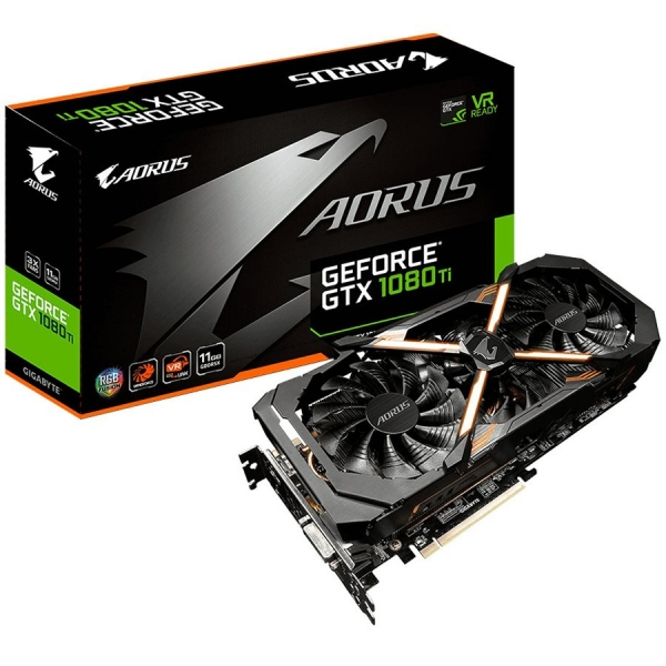 GIGABYTE Video Card GeForce GTX 1080 Ti AORUS EDITION GDDR5X 11GB/352bit, 1569MHz/10206MHz, PCI-E 3.0 x16, 2xHDMI, DVI-D, 3xDP, WINDFORCE Stack 3X Cooler RGB(Double Slot), Backplate, Retail 0