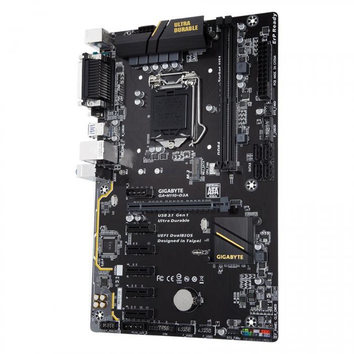 GIGABYTE Main Board Desktop INTEL H110 (Socket LGA1151,2xDDR4,VGA,1xPCIEX16/5xPCIEX1,USB3.1/USB2.0, 4xSATA III,1xM.2,LAN) micro ATX retail 0