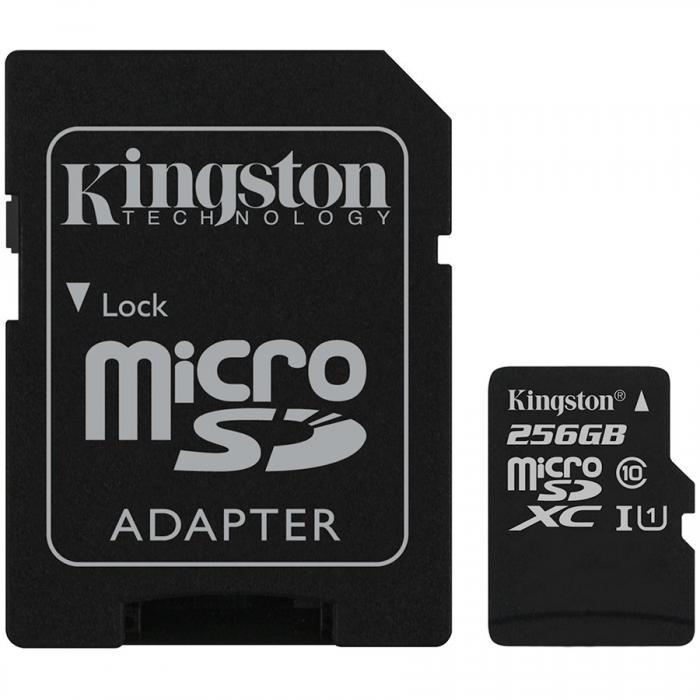 Kingston 256GB microSDXC Class 10 UHS-I 45MB/s Read Card + SD Adapter, EAN: \'740617246339\' 0