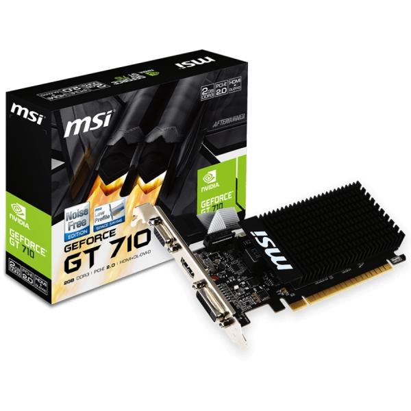 MSI Video Card GeForce GT 710 DDR3 2GB/64bit, 954MHz/1600GHz, PCI-E 2.0 x16, HDMI, DVI-D, Active cooling(1xfan), Low-profile, Retail 0