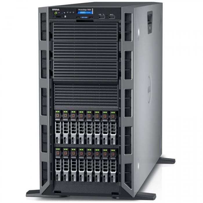 Server Dell PowerEdge T630 - Tower - 1x Intel Xeon E5-2620v4 8C/16T 2.1GHz, 16GB (1x16GB) DDR4-2400 RDIMM, DVD+/-RW, 1x 240GB SSD (max. 16 x 2.5\'\' hot-plug HDD), RAID PERC H730 1GB Cache, iDRAC8 Ent 0