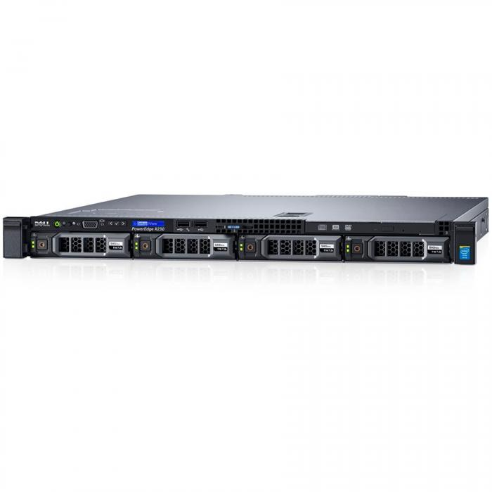 Server Dell PowerEdge R230 - Rack 1U - Intel Xeon E3-1230v6 4C/8T 3.5GHz, 8GB (1x8GB) DDR4-2400 UDIMM, DVD+/-RW, 1 x 120GB SSD (max. 4 x 3.5\'\' hot-plug HDD), PERC H330, iDRAC8 Express, Single Cabled 0