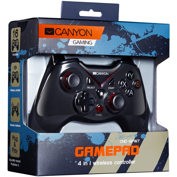 CANYON 2.4G Wireless Controller 4in1 PC/PS3/Android/XboxOne, High precision 3D, dual trigger, 600mAh Li-Poly battery, rubberized surface and vibration feedback 1