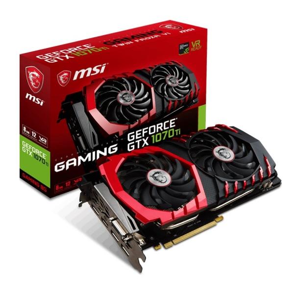MSI Video Card GeForce GTX 1070 Ti GAMING GDDR5 8GB/256bit, 1683MHz/8008MHz, PCI-E 3.0 x16, 3xDP, HDMI, DVI-D, ARMOR FAN X2(Double Slot), Retail 0