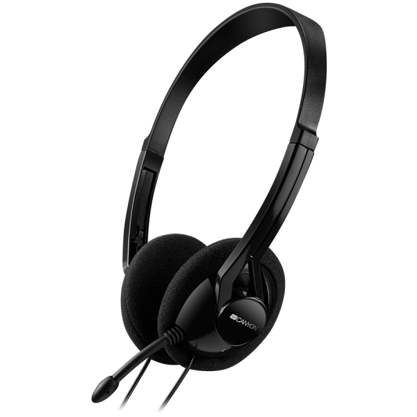 CANYON PC headset with microphone, volume control and adjustable headband, cable 1.8M, Black 0