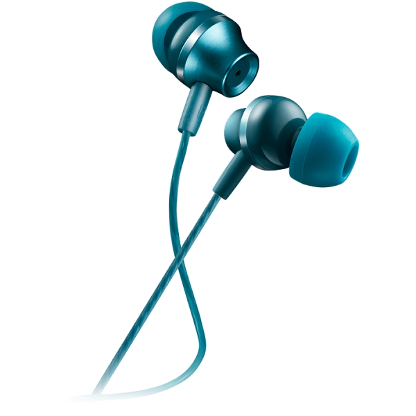CANYON Stereo earphones with microphone, metallic shell, 1.2M, blue-green 0