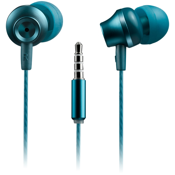 CANYON Stereo earphones with microphone, metallic shell, 1.2M, blue-green 1