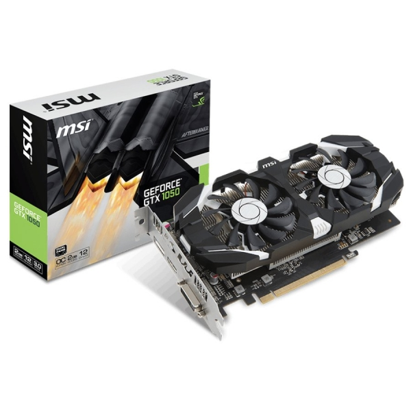 MSI Video Card GeForce GTX 1050 OC GDDR5 2GB/128bit, 1404MHz/7008MHz, PCI-E 3.0 x16, DP, HDMI, DVI-D, Sleeve 2X Fan Cooler (Double Slot), Retail 0