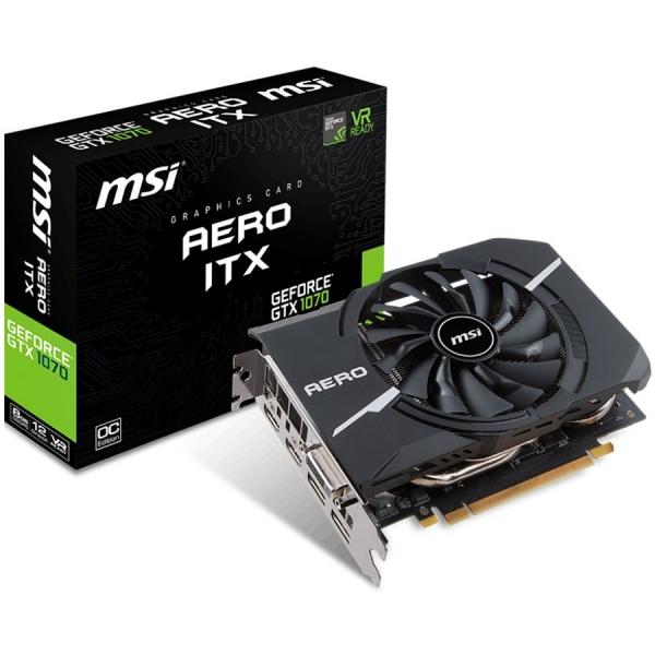 MSI Video Card GeForce GTX 1070 AERO ITX 8GB GDDR5 8GB/256bit, 1721/1531MHz, PCI-E 3.0, DisplayPort x 2 (Version 1.4)/HDMI x 2 (Version 2.0)/DL-DVI-D, Retail 0