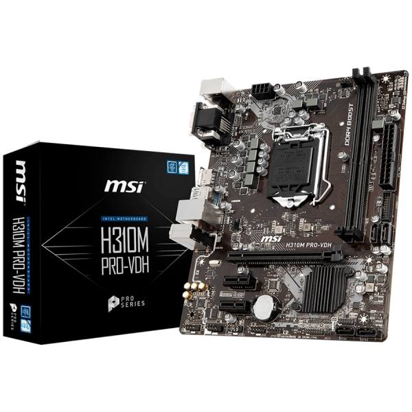 MSI Main Board Desktop H310 (S1151, DDR4, USB3.1, USB2.0, SATA III, HDMI, DVI-D, VGA - Requires Processor Graphics, 8-Channel(7.1) HD Audio with Audio Boost, Realtek 8111H Gigabit LAN) mATX Retail 0