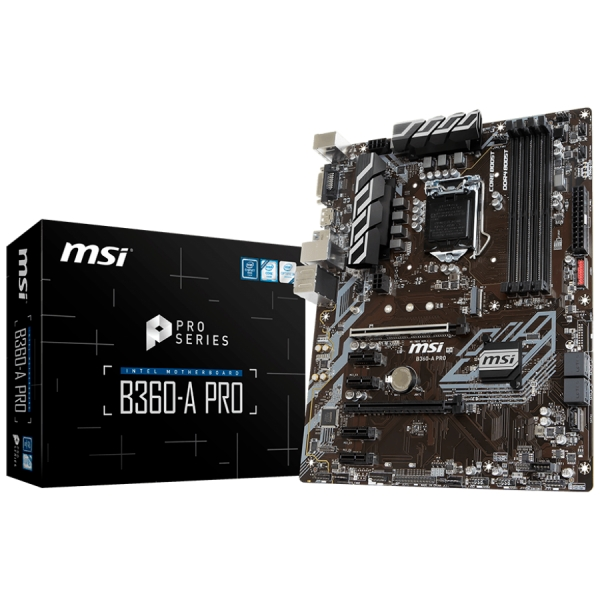 MSI Main Board Desktop B360 (S1151, DDR4, USB3.1, USB2.0, SATA III, M.2, DisplayPort, DVI-D - Requires Processor Graphics, 8-Channel(7.1) HD Audio with Audio Boost, Intel I219-V Gigabit LAN) ATX Retai 0