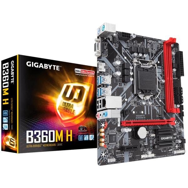 GIGABYTE Main Board Desktop Intel B360 (S1151v2, 2xDDR4, Realtek ALC887, 1x10/100/1000 Mbit, 1xPCIEX16, 1xPCIEX1, 1xM.2, 4xSATA 6Gb/s, 2xPS/2, 1xD-Sub, 1xHDMI, 4xUSB3.1Gen1, 2xUSB2.0, 1xRJ-45) mATX, R 0
