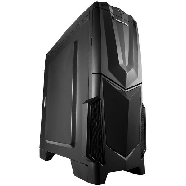"Segotep Fighter V Black, SPCC Steel ATX Mid Tower, fara sursa (tip ATX, montata jos), interior vopsit negru, 1x5.25"" (ext), 1x5.25"" (int), 4x3.5""/2.5"" (int), design tool-less, fata – 1x 120mm Red LED  0"