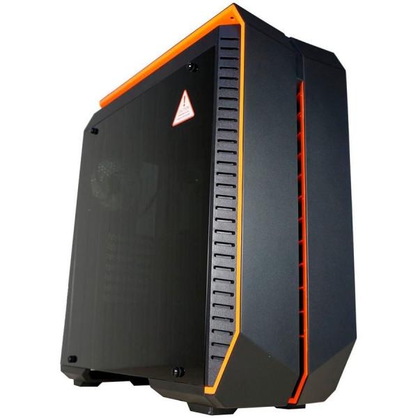 Inaza Devastator Black / Orange, SECC Steel ATX Mid Tower, no source (ATX type, mounted down), black painted interior 0