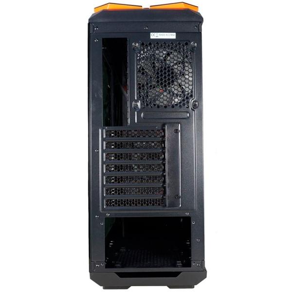 Inaza Devastator Black / Orange, SECC Steel ATX Mid Tower, no source (ATX type, mounted down), black painted interior 3