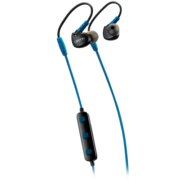 Canyon Bluetooth sport earphones with microphone, 0.3m cable, blue 0