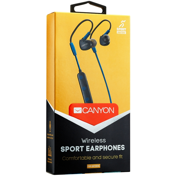 Canyon Bluetooth sport earphones with microphone, 0.3m cable, blue 1
