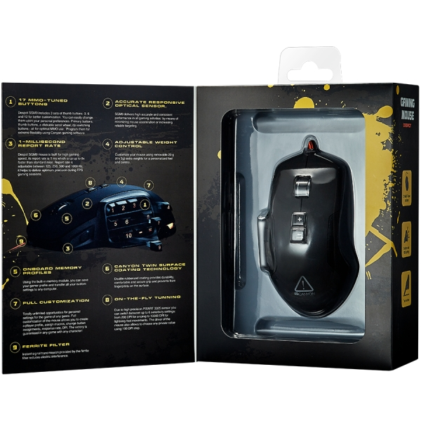 CANYON Wired MMO gaming mice programmable, Pixart 3325 IC sensor, DPI up to 10000 adjustable and Marco setting by software, Black rubber coating 2