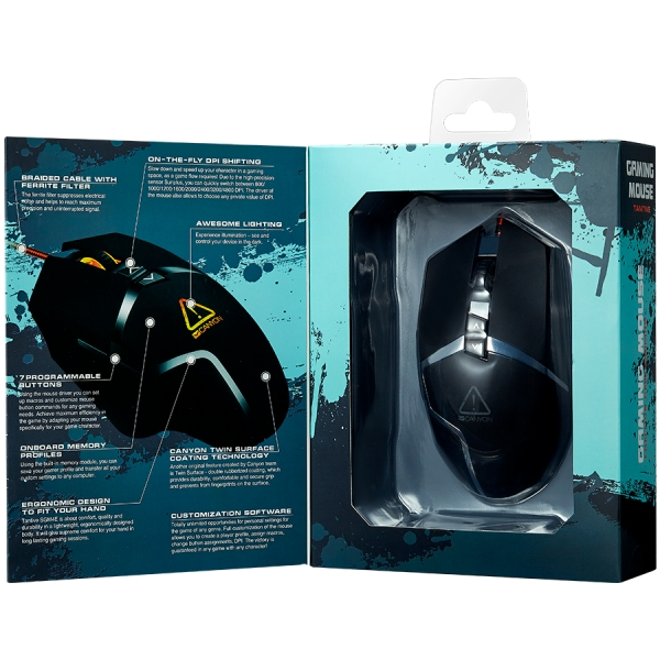 CANYON Wired gaming mouse programmable, Sunplus 189E2 IC sensor, DPI up to 4800 adjustable by software, Black rubber coating with chrome design 2