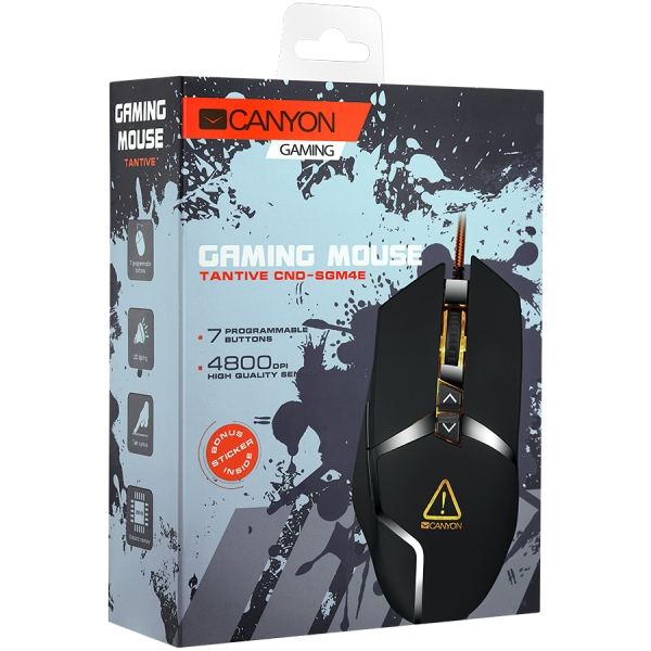 CANYON Wired gaming mouse programmable, Sunplus 189E2 IC sensor, DPI up to 4800 adjustable by software, Black rubber coating with chrome design 1