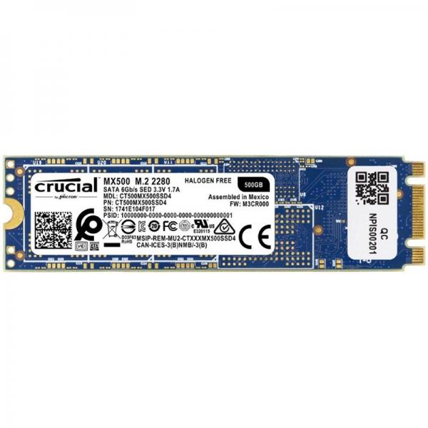 """SSD series MX500, 500GB, Form Factor M.2, SATA 3.0, Technology TLC, Write speed 510 MBytes/sec, Read speed 560 MBytes/sec, Drive thickness 3.5mm, """"CT500MX500SSD4"""" 0"""