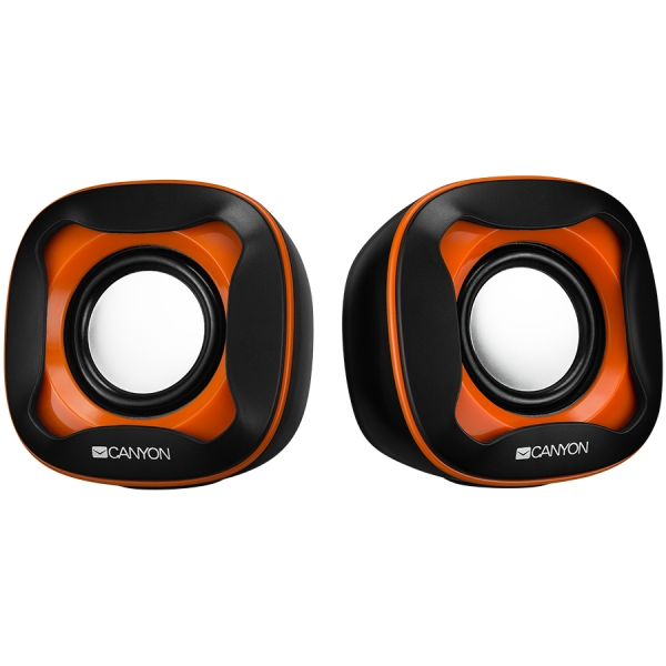 USB 2.0 Speaker, black +orange 021C, 2*3W 4 Ohm, ABS, 1.2m cable with USB2.0 & 3.5mm audio connector 0